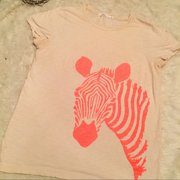J. Crew Tops - J Crew Cream Zebra Cotton Graphic Tee